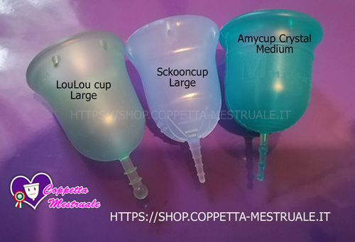 comparativo coppette Loulou Sckooncup Amycup